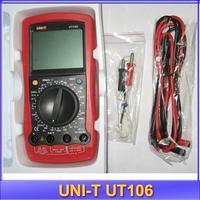 free shipping UNI-T UT106 LCD Digital Multimeter DC Amp AC/DC Volt Ohm Hz Temp Meter handheld Automotive Multimeters