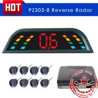 8 Sensors Car Parking Reverse System Radar Detector With LED Digital Display Car Parking Sensor Kit Free Shipping