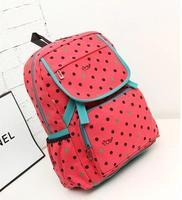 HOT! Denim cute dot Printing with hasp Backpack Students School Bag Canvas Bag Travel Bag shoulder bags