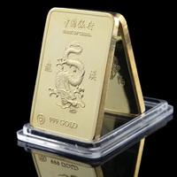 (lucya0013)Newest! Free Shipping Wholesale 5 Pcs/Lot 999 gold Plated Chinese Dragon Gold Bar