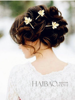 2014 New Arrival  Women Charms Wedding 14K Gold Plated Alloy Leaf Shape Symbol Bride Hair Jewelry Head Band Hairpins,12pcs/lot