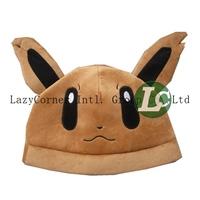 10pcs/lot Free Shipping Anime Cartoon Pokemon Pocket Monsters Eevee Plush Hat Cosplay Hat Cap Warm Winter Hat