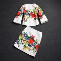 Free shipping   2014 autumn women's quality print three quarter sleeve top half-skirt set women skirt suits