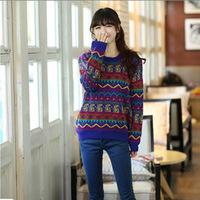 2014 Fashion Women sweater Vintage totem loose pullovers  knit wears long sleeve sweaters for women
