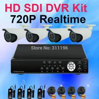 4CH 720P HD SDI DVR Camera Kit HDMI PTZ P2P Cloud 4pcs 1280*720P resolution HD-SDI Analog Security Camera System