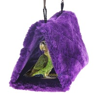 LS4G Purple Bird Parrot Budgie Nest Shed Fluffy Warm Suspended Hut Toy S Size
