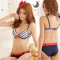 2014 japanese style Sweet sailor moon striped girl bras set push up halter women's underwear set cute sport bra panty set