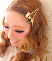 2014 New Fresh Women Charms Brief Occident Style 14K Gold & Silver Plated Alloy Ocean Star & Shell Symbol Hairpins Hair Jewelry
