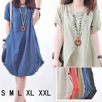 Plus Size Casual Loose Style Fat Women Apparel Short Sleeve Cotton Linen Novelty Dress Pregnant Maternity Dresses Wholesale XXL