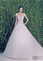 Vestido De Noiva Sereia 2014 Fashionable Plus Size Salomon Sexy Zuhair Appliques A Line Romantic Mermaid Lace Wedding Dress