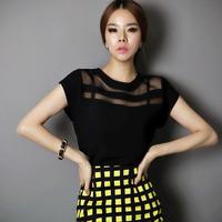 Fashion Sexy See-through OL Tops Organza Chiffon Short Sleeve T-shirt Slim Tops Free&DropShipping