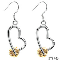 2014 New Hot Sale Fashion Jewelry women's 925 silver plated Yellow Cubic Zirconia Earrings for women Gift
