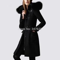 women's winter long woollen coat female slim wool coats jackets new 2014 women horn button cashmere coats fur hooded collar EMS
