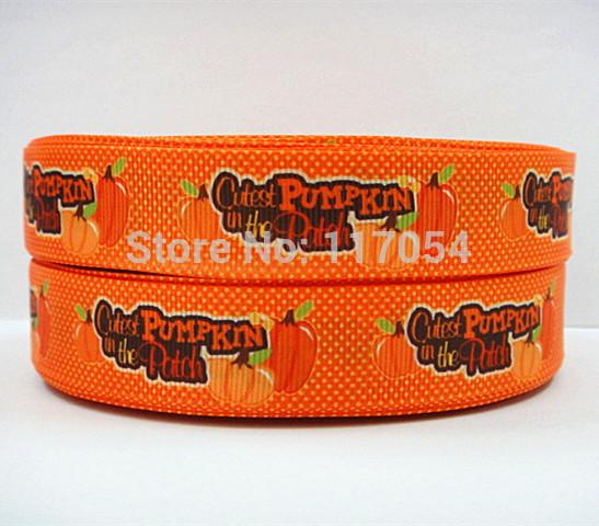 WM/OEM cutest pumpkin printed webbing 7/8inch 22mm 140725009 printed grosgrain ribbon 50yds/roll free shipping(China (Mainland))