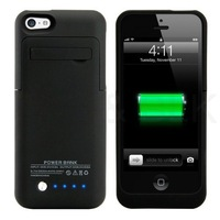 Classic Black 2200mAh External Battery Backup Charger Case Power Bank With Media Kick Stand for iPhone 5C 5S 5G