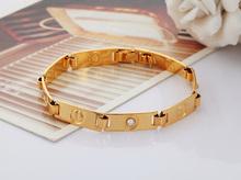 New 2014 Brand Design Crystal Love Bracelet Men women 18K Real Gold Plated Rhinestone Chain Bracelets
