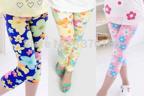 Hot sale New Cuhk children baby Girls Colorful Floral printing milk Silk Leggings Pants free shipping(China (Mainland))