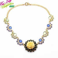 2014 New Brand Flower Gem Stone Fashion Statement Quality Vintage Collar Necklace Women Choker Necklace 9064
