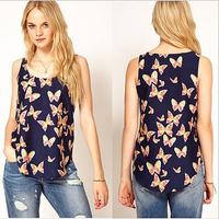 Women's Chiffon Tank Top Vest  2014 Summer New Butterfly Print  Fashion Sleeveless  Blouses Tank Tops S M L UG027