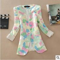 2014 Autumn New Lace Blazer Women Korean Slim Fashion Three Quarter  Long Wome Blazer High Quality Plus Size Coat Jacket