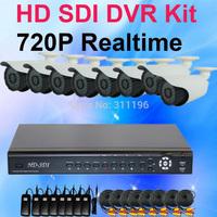 8CH 720P HD-SDI DVR 8pcs HD SDI Analog Outdoor Waterproof Bullet Camera Whole CCTV Kit 8Channels Security Surveillance System
