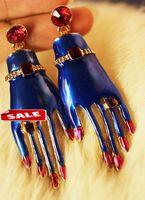 1pcs free shiiping 2014 Fashion hot New enamel hand shape punk rock  damgle earrings for Women men, Vintage  earring Jewelry!