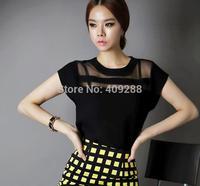 Summer Women Black Tulle Sheer Blouses Shirts Ladies Tops Chiffon Blouse Short Hollow Out Blusas Femininas 2014