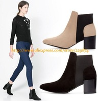 New Wholesale Women Martin Boots Lady Genuine Leather Square high Heels Pointed-Toe Splice Brand ZA Short Boots Nude/Black
