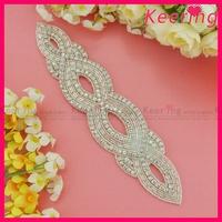 Hot Sale Free Shipping Handmade Shiny Bridal Rhinestone Applique Patches WRA-538