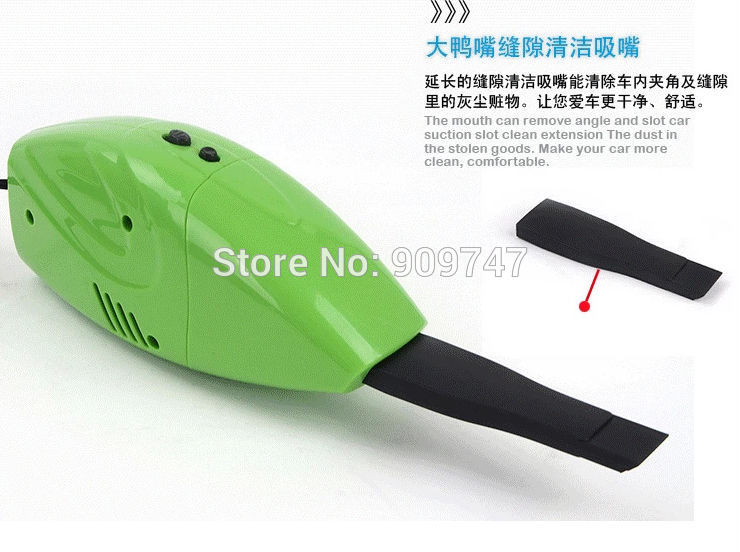 Brand New Super Suction Mini DC 12V High-Power Wet and Dry Portable Car Vacuum Cleaner blue/orange/green Color Free Shipping(China (Mainland))