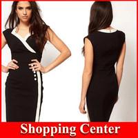 Fashion-New 2014 Fashion Summer Women Dress Bodycon Dress Sleeveless Button Sew Solid Elegant OL Ladies Pencil Dress Dropship