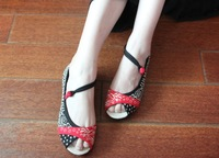 Free shipping 2014 Fashion summer sandals Ethnic style Women embroidered shoes Cotton BEIJING SHOES Melaleuca sole Flat shoe