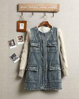 2014 new autumn winter jacket women wool thickening O-neck  long plus velvet patchwork denim  jacket outwear size S/M/L