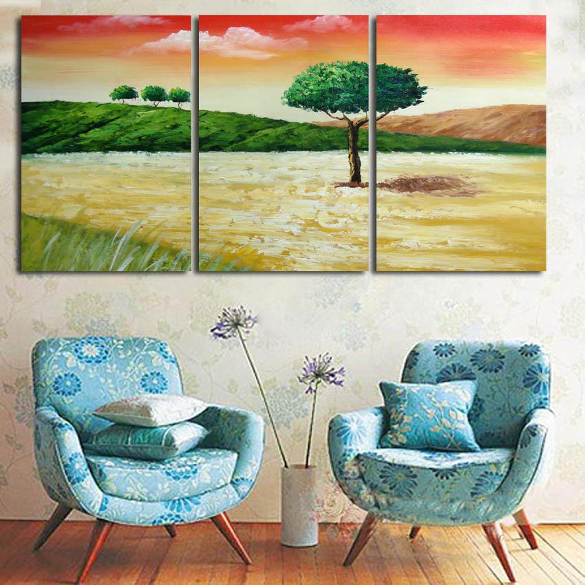 3 painéis / set pintura da lona pintura a óleo impressa árvore pacífica eo pôr do sol parede pictures home deco lona de arte sem moldura(China (Mainland))