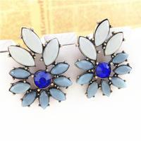 Wholesale Lovely Flower Design Created Gemstone Bridal Rhine Stone Drop Earrings for Women
