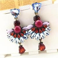 2014 New Fashion Brand Vintage Multi Color Stone Drop Earrings Jewelry For Women Glass crystal droplets pendant earrings