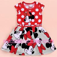Retail. 2014 new Minnie cartoon pattern printed dresses .100% cotton print, dress children cartoon costume summer Girls' Dresses