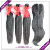 Brazilian Virgin Hair Straight 3Pcs+1Pcs Middle Part Lace Closure With Bundles Unprocessed Human Hair Weaves Natural Black Hair