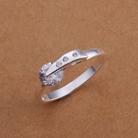 R182 2014 new heart fashion love inlaid stone 925 silver ring, size US 8, fashion ring, Nickle free, antiallergic Free shipping