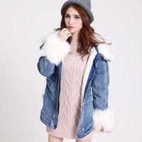M, L, XL Women's Slim thick winter coat fur collar wool denim long sleeve cotton coat plus size New fashion 2014 brand overcoat