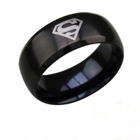 New Arrival Hot Selling Superman Print Black Titanium Steel Ring Men's Wedding Band Ring Fashion Jewelry Size 6-13 Free Shipping