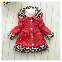 Free shipping retail  4 pcs/ lot 2014 new fashion leapord girl coat, girl Outerwear ,girl jacket