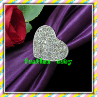 hot sell rhinestone heart napkin ring for wedding tables
