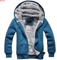 Teenager Autumn Winter Clothes Students Wool Liner Hoodies Sweatshirts 3XL XXXL SIZE  Fleece Hooded Sweatshirts For Men