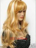 $wholesale_jewelry_wig$ free shipping Top Sexy Lady's Long Mix Blonde Big Spiral Wavy Heat Resistant Cosplay Full Wig
