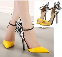 2014 New Fino Salto Alto Mulheres Bombas borboleta colorida de salto Sandálias Sexy Sapato de bico fino Wedding Party Shoes amarelo brilhante roxo(China (Mainland))