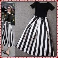 Shoulder Off Black Short Sleeves Boat Neckline Women Top Summer Vertical Black White Stripes Summer Ankle Length Long Skirt