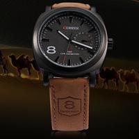 Original Curren Brand Watch Genuine Leather Strap Analog Display Quartz Men Casual Wrist Watch 2 Colors