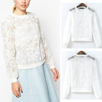 2014 New Women's Organza Embroidered Lace Crochet Flower Long Sleeve Crew Neck Sheer Lace Pullover Jumper Hoodies Sweatshirts