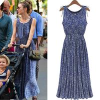 Free shipping, Ladies European stations, bohemian floral brocade dress round neck sleeveless dress